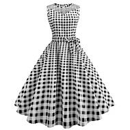 Dame I-byen-tøj Vintage Bomuld Tynd Swing Kjole - Ruder, Trykt mønster Knælang