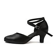 billiga Dansskor-Dam Moderna skor Läder Sneaker Spetssöm Kubansk klack Dansskor Guld / Svart / Träning