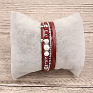 גיאומטרי צמידי עור - נשים, קלסי, אופנתי צמידים תכשיטים בז' / אפור / אדום עבור מתנה יומי
