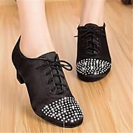 billige Moderne sko-Dame Moderne sko Silke Oxford Tykk hæl Dansesko Svart / Ytelse / Trening
