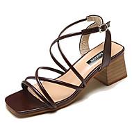 baratos Sapatos Femininos-Mulheres Sapatos Couro Ecológico Verão Conforto Sandálias Salto de bloco Bege / Castanho Escuro