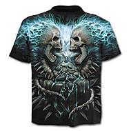 男性用 プリント Tシャツ スカル 誇張された カラーブロック スカル