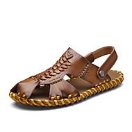 tanie Obuwie męskie-Męskie Komfortowe buty Skóra nappa Lato Sandały Spacery Ciemnobrązowy / Khaki