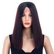 Χαμηλού Κόστους Περούκες για κούκλες-Συνθετικές Περούκες / Συνθετικές μπροστινές περούκες δαντέλας Ίσιο Ombre Μέσο μέρος Συνθετικά μαλλιά συνθετικός / Η καλύτερη ποιότητα / Νέα άφιξη Μαύρο / Ombre Περούκα Γυναικεία Κοντό / Χωρίς κάλυμμα