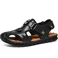 tanie Obuwie męskie-Męskie Skórzany Lato Comfort Sandały Spacery Wielokolorowa Black / Light Brown / Dark Brown / Hasło reklamowe