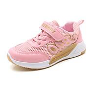baratos Sapatos de Menina-Para Meninas Sapatos Tule / Couro Ecológico Primavera Verão Conforto Tênis Caminhada Velcro para Infantil Branco / Preto / Rosa claro