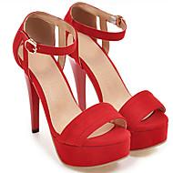 女性用 靴 スエード 夏 コンフォートシューズ サンダル スティレットヒール オープントゥ / ピープトウ ベックル レッド / ピンク / キャメル / 結婚式 / パーティー