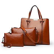 cheap Bag Sets-Women's Bags Genuine Leather Bag Set 3 Pcs Purse Set Buttons / Zipper Blushing Pink / Brown / Wine