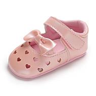 baratos Sapatos de Menina-Para Meninas Sapatos Couro Sintético Primavera & Outono Conforto / Primeiros Passos / Sapatos de Berço Rasos Laço / Vazados / Velcro para Bebê Azul Escuro / Vermelho / Rosa claro / Casamento