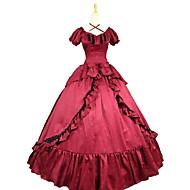 Rococo / Viktoria Tarzı Kostým Dámské Šaty Červená / černá Retro Cosplay Směs bavlny Krátký rukáv Nahoře nabírané