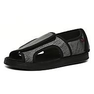 baratos Sapatos Femininos-Mulheres Sapatos Borracha Verão Conforto Sandálias Sem Salto Dedo Aberto Cinzento / Listrado