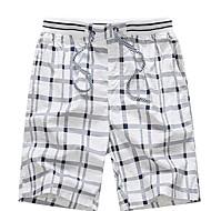 Herre Plusstørrelser Shorts Bukser - Ruder Navyblå / Efterår