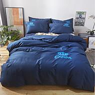tanie Solid Duvet Okładki-Zestawy kołdra okładka Solidne kolory 100% bawełna Haft 4 elementyBedding Sets / 400 / 4 sztuki (1 poszewka na kołdrę, 1 prześcieradło, 2 ozdobne poszewki Euro Sham)