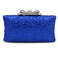 baratos Clutches & Bolsas de Noite-Mulheres Bolsas Cetim Bolsa de Festa Laço(s) Prata / Vermelho / Azul Real