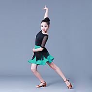 billiga Danskläder och dansskor-Latinamerikansk dans Outfits Flickor Träning / Prestanda POLY / Tyll / Syntetiskt siden Tofs / Kombination Halvlång ärm Naturlig Kjolar / Topp