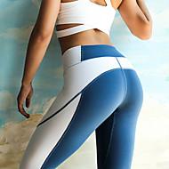Kadın's Kırk Yama Yoga Pantolonları Mavi Gri Spor Dalları Splandeks Yüksek Bel Bisiklet Tayt Tozluklar Zumba Pilates Fitness Aktif Giyim Hafif Nefes Alabilir Hızlı Kuruma Streç / Popo Kaldırma