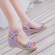 baratos Sapatos Femininos-Mulheres Pele Verão Conforto Sandálias Salto Plataforma Peep Toe Presilha Preto / Roxo / Azul