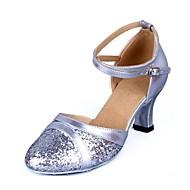 billige Kustomiserte dansesko-Dame Moderne sko Fuskelær Sandaler Strå Kubansk hæl Kan spesialtilpasses Dansesko Sølv / Rød / Blå