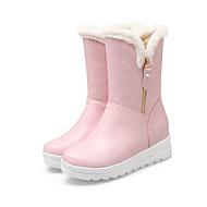 baratos Sapatos Femininos-Mulheres Couro Ecológico Outono & inverno Botas de Neve / Forro de fluff Botas Sem Salto Branco / Preto / Rosa claro