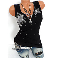 cheap -Women's Punk & Gothic Plus Size Slim T-shirt - Solid Colored Sequins Deep V Black XXXL / Summer