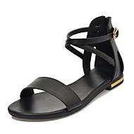 Γυναικεία Παπούτσια Δερμάτινο Ανοιξη καλοκαίρι Ανατομικό Σανδάλια Επίπεδο Τακούνι Ανοικτή μύτη Λευκό / Μαύρο / Ανοικτό Καφέ