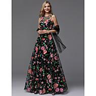 A-라인 쥬얼리 바닥 길이 레이스 댄스 파티 / 포멀 이브닝 드레스 와 패턴 / 프린트 으로 TS Couture®