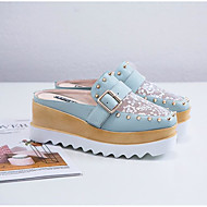 cheap Women's Clogs & Mules-Women's Shoes Cowhide Summer Slingback Clogs & Mules Wedge Heel Square Toe Rivet White / Black / Green