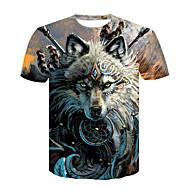 Herrn Einfarbig / Tier - Grundlegend / Street Schick Klub T-shirt, Rundhalsausschnitt Druck Wolf Braun XXL / Kurzarm / Sommer