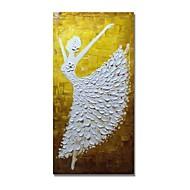 billiga Människomålningar-styledecor® modern handmålade abstrakt dansande tjej i vit klänning oljemålning väggkonst på förpackad duk