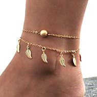 Dame Flerlags Dobbelt Ankel Armbånd fødder smykker Bladformet Billig Yndig Damer Simple Trendy Ankel Smykker Guld / Sølv Til Gave Gade Ferie