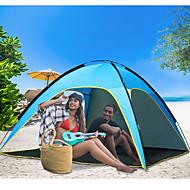 4 person udendørs Strandtelt Letvægt Regn-sikker Åndbarhed UV-resistent Foldning Stang Et Værelse Enkeltlags <1000 mm Camping Telt til Strand Camping / Vandring / Grotte Udforskning Terylene