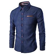 Муж. Пэчворк Рубашка Классический Однотонный Светло-синий XL / Длинный рукав / Весна / Лето
