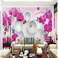 billige Tapet-Veggmaleri Lerret Tapetsering - selvklebende nødvendig Blomstret / Art Deco / 3D