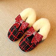 baratos Sapatos de Menina-Para Meninas Sapatos Poliester / Couro Ecológico Primavera & Outono Conforto / Bailarina Rasos Caminhada para Infantil Branco / Preto /
