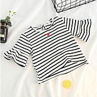 Baby Pige Aktiv Stribet Kortærmet Polyester T-shirt Sort
