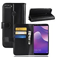 billiga Mobil cases & Skärmskydd-fodral Till Huawei Y9 (2018)(Enjoy 8 Plus) / Y7 Prime (2018) Plånbok / Korthållare / med stativ Fodral Enfärgad Hårt Äkta Läder för Y9 (2018)(Enjoy 8 Plus) / Huawei Y7 Prime(Enjoy 7 Plus) / Y7 Prime