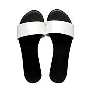 cheap -Women's Shoes PU(Polyurethane) Summer Comfort Slippers & Flip-Flops Low Heel White / Black / Silver