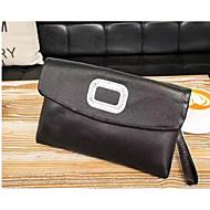baratos Clutches & Bolsas de Noite-unisex sacos de couro napa pulseira zíper preto