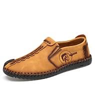 Ανδρικά Δερμάτινα παπούτσια Καοτσούκ / Δερμάτινο Ανοιξη καλοκαίρι Μοκασίνια & Ευκολόφορετα Αναπνέει Μαύρο / Κίτρινο / Χακί