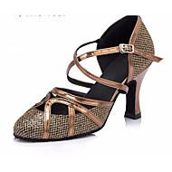 billige Moderne sko-Dame Moderne sko Lær Høye hæler Tykk hæl Dansesko Militærgrønn