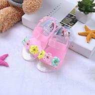 baratos Sapatos de Menina-Para Meninas Sapatos PVC Verão Plástico Sandálias Flor / Velcro para Bébé Verde / Azul / Rosa claro / Peep Toe