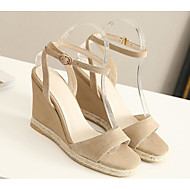 baratos Sapatos Femininos-Mulheres Sapatos Pele de Carneiro Verão Conforto Sandálias Salto Plataforma Preto / Amêndoa