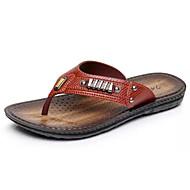 baratos Sapatos Masculinos-Homens PVC / Couro Ecológico Verão Conforto Chinelos e flip-flops Marron / Khaki