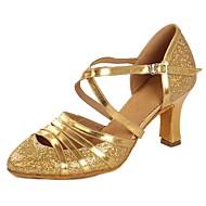billige Moderne sko-Dame Moderne sko Lakklær Sandaler / Høye hæler Paljett / Spenne Kubansk hæl Kan spesialtilpasses Dansesko Gull