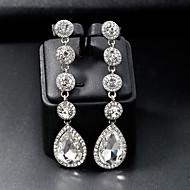 בגדי ריקוד נשים מסוגנן עגילי טיפה - ארופאי אופנתי תכשיטים כסף עבור חתונה יומי זוג 1