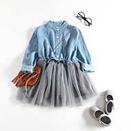 Kids Girls' Basic Daily Solid Colored Pleated / Patchwork Long Sleeve Knee-length Cotton / Polyester Dress Navy Blue