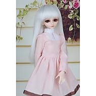 Χαμηλού Κόστους Περούκες για κούκλες-Συνθετικές Περούκες Ίσιο Κούρεμα καρέ / Κούρεμα με φιλάρισμα Συνθετικά μαλλιά 12 inch Μίνι / Ρυθμιζόμενο / Νεό Σχέδιο Λευκή Περούκα Γυναικεία Μακρύ Χωρίς κάλυμμα Άσπρο / κούκλα περούκα