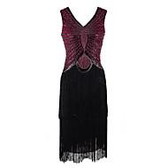 위대한 개츠비 1920년대 광란의 20 년대 코스츔 여성용 드레스 가면 플래퍼 드레스 칵테일 드레스 반짝이 블랙 / 레드와 블랙 빈티지 코스프레 파티 댄스 파티 민소매 냉대 무릎 길이