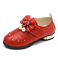 baratos Sapatos de Menina-Para Meninas Sapatos Couro Ecológico Primavera Verão Conforto / Sapatos para Daminhas de Honra Rasos Caminhada Laço / Pérolas Sintéticas / Velcro para Infantil Vermelho / Rosa claro