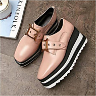 cheap Women's Oxfords-Women's Nappa Leather Summer Comfort Oxfords Creepers Round Toe Pink / Burgundy